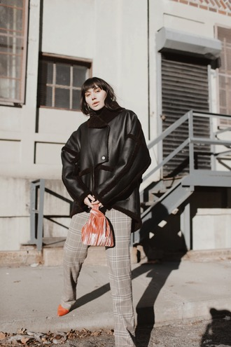 natalie off duty blogger coat sunglasses pants shoes bag shearling jacket grey pants winter outfits