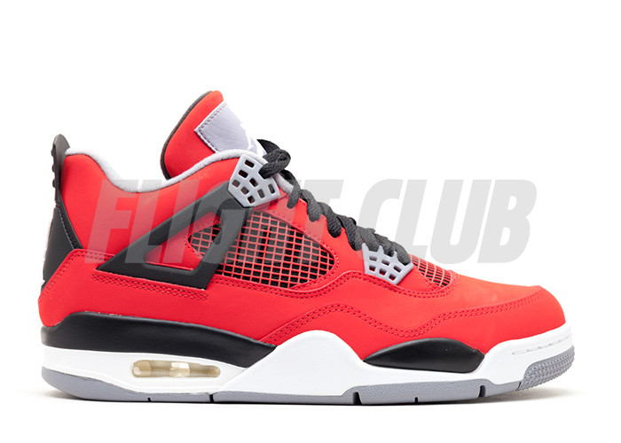 "air jordan 4 retro ""toro bravo"" - fire red/white-back-cmnt grey  