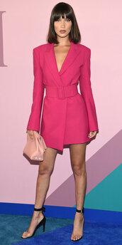 dress,pink,pink dress,blazer,blazer dress,sandals,bella hadid,model,cfda