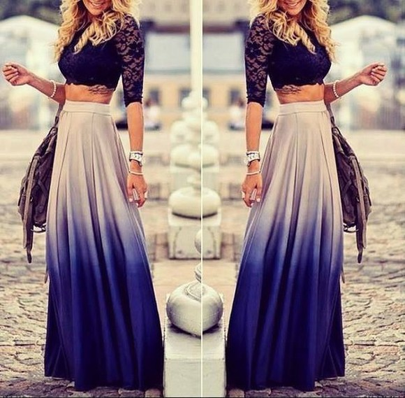 tie dye long skirt, blue skirt skirt shirt maxi skirt lace top
