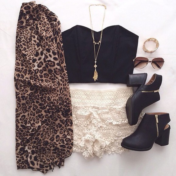 bustier lace shorts cardigan leopard print ankle boots shoes zip