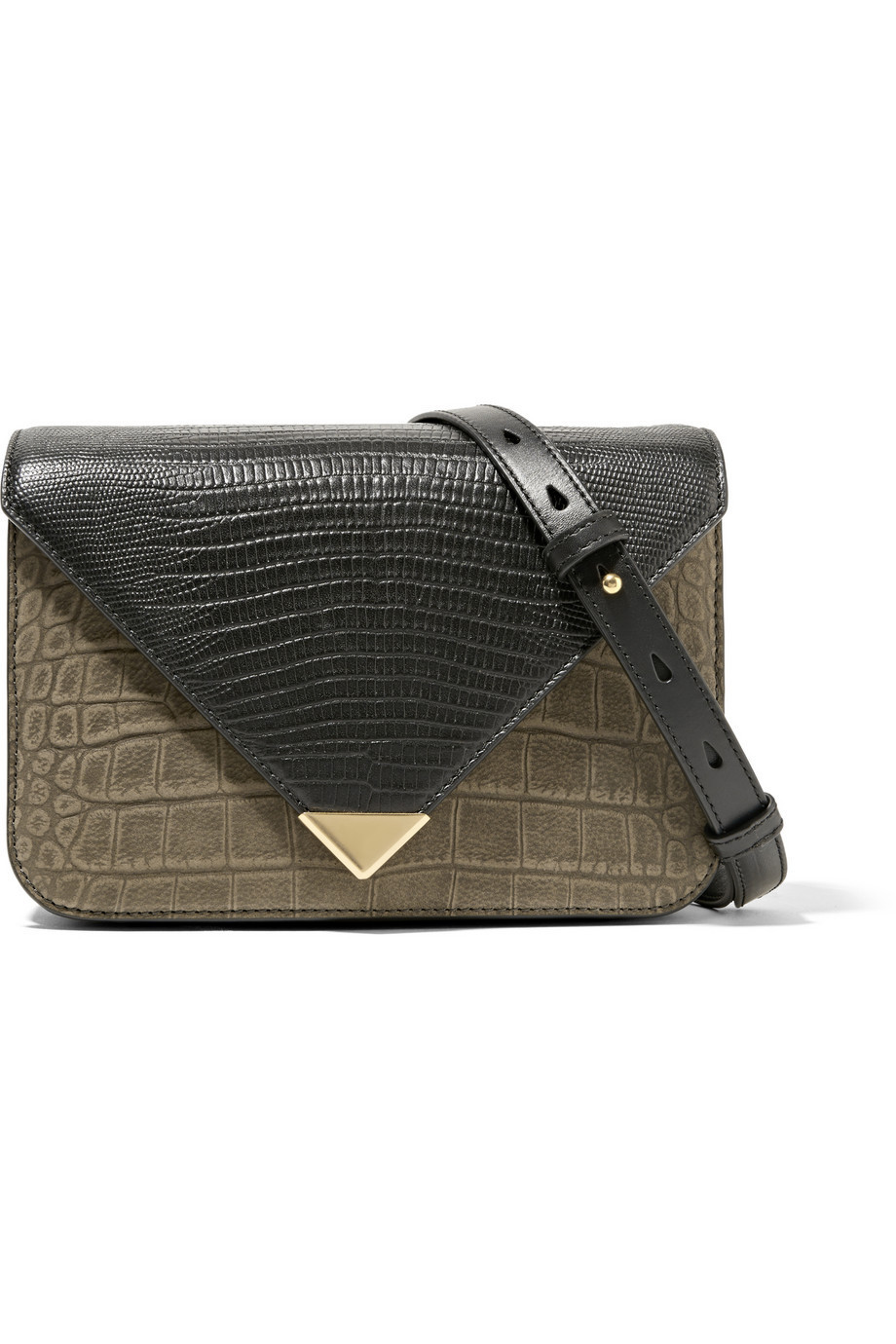 1f9a8cc8d6 Alexander Wang Prisma Small Croc and Lizard-Effect Leather Shoulder Bag in  black   green
