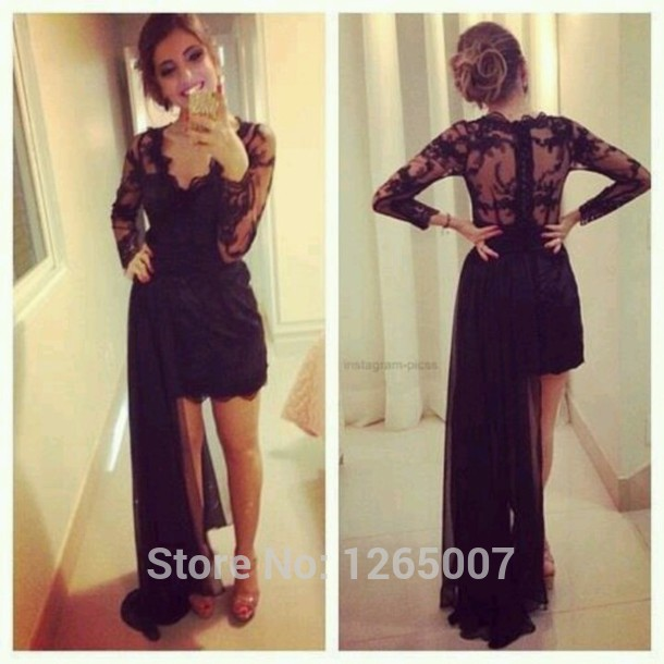 Aliexpress.com : Buy 2014 Deep V Neck Long Sleeves Lace Top Lace Mini Short Black With Chiffon Ribbons Prom Dresses Fashion Summer Long Gowns from Reliable mini portable ipod speaker suppliers on SFBridal