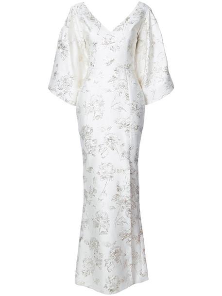 gown long women white silk dress