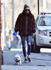 shoes,flats,olivia palermo,jeans,fur,fur coat
