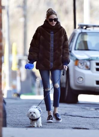 shoes flats olivia palermo jeans fur fur coat