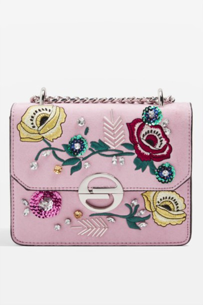 cross embroidered bag floral pink