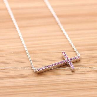 cross cross necklace necklace jewels sideways cross sideways cross necklace pink necklace