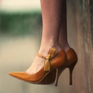 Tan Pointy Toe Bow Stiletto Heel Mary Jane Pumps