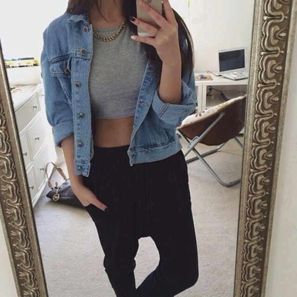 Jacket denim jacket pants clothes blogger shirt tumblr crop tops blue black denim ...
