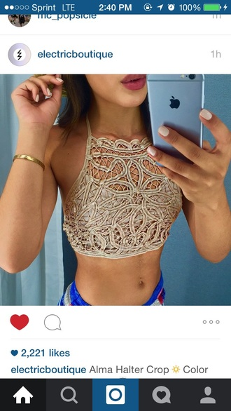 top lace top cut out crop top