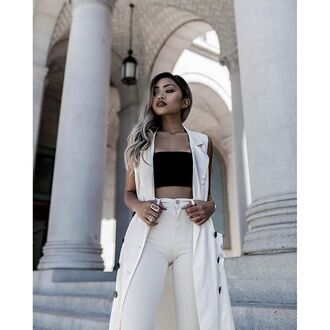 top tumblr black top crop tops black crop top tube top vest white vest pants white pants