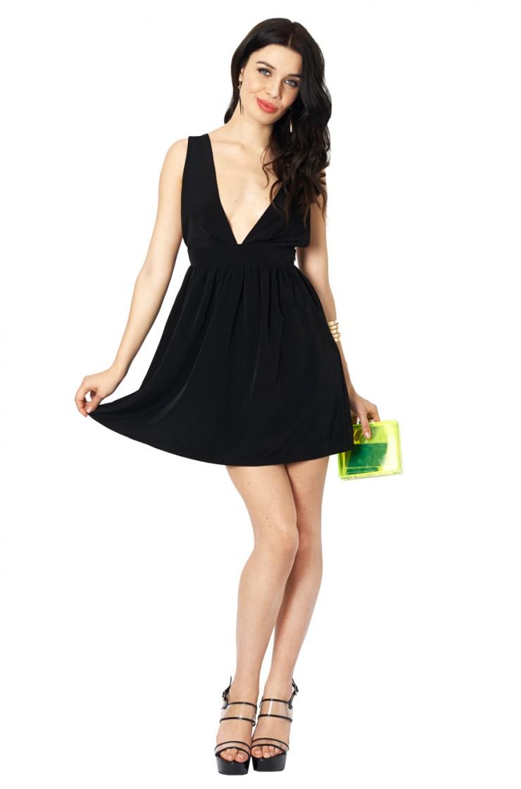 Crush on black plunging skater dress