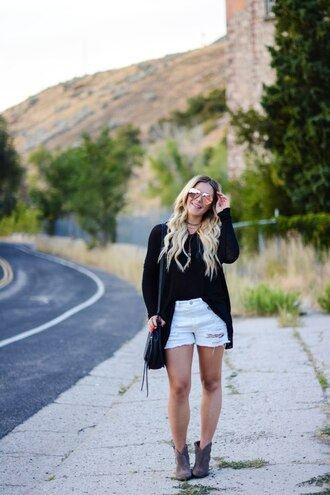 all dolled up blogger sweater jewels bag sunglasses shoes black top cardigan white shorts ripped shorts shoulder bag aviator sunglasses jacket