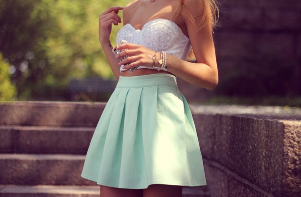 kenza skirt light green mint girly vintage high waisted high waisted skirt tank top dress cute dress summer dress green dress mint dress blouse white top girl blonde hair