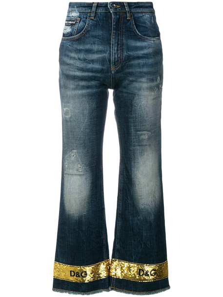 Dolce & Gabbana jeans flare jeans flare cropped women spandex cotton blue