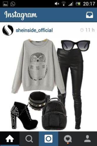 sweater owl owls grey sweater