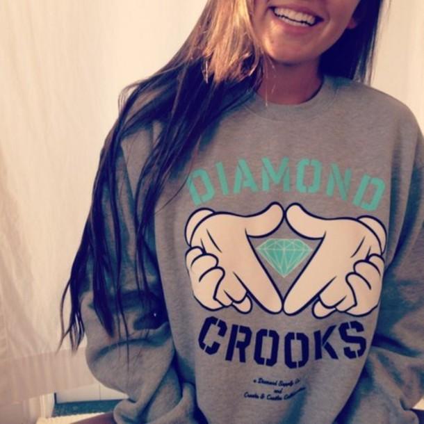 shirt diamonds crooks crew neck hoodie gray womens clothes teal