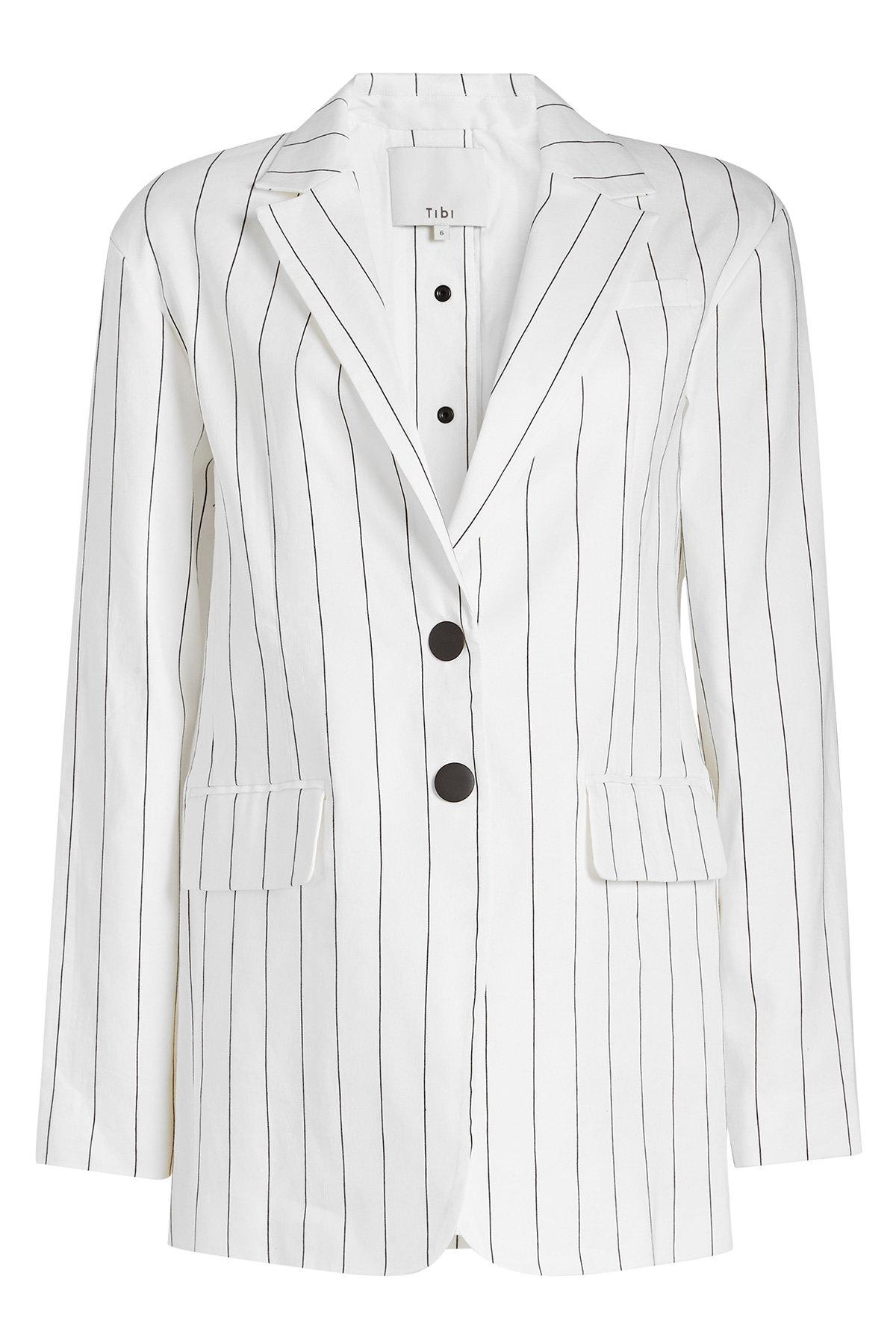 Tibi - White Striped Blazer In Linen - Lyst