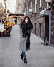 coat,tumblr,grey boots,grey coat,scarf,plaid,plaid coat,denim,jeans,blue jeans,boots,black boots,long coat,heel boots,cropped jeans,black bag