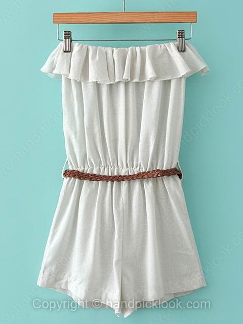 Beige Strapless Sleeveless Belt Embellished Jumpsuit - HandpickLook.com