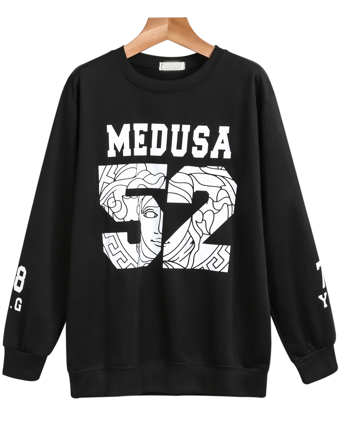 Black Long Sleeve MEDUSA 52 Print Sweatshirt - Sheinside.com