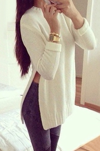 sweater cute winter outfits zaful knitwear knitted sweater fashion pretty acid wash casual hipster stylish white trendy long sleeves