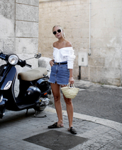 sunglasses,tumblr,shirt,white shirt,off the shoulder,off the shoulder top,skirt,mini skirt,denim,denim skirt,shoes,black shoes,bag,woven bag