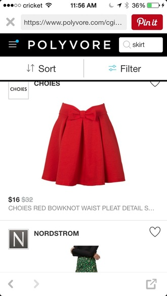 skirt red bow knot pencil skirt
