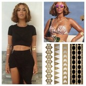 jewels,beyonce,temporary tattoo,celebrity style,jewelry,gold,metallic,metallic tattoo,gold tattoos,beyonce fashion,beyonce tattoos,fake tattoos