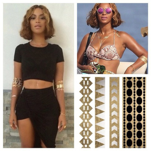 jewels, beyonce, temporary tattoo, celebrity style, jewelry, gold ...