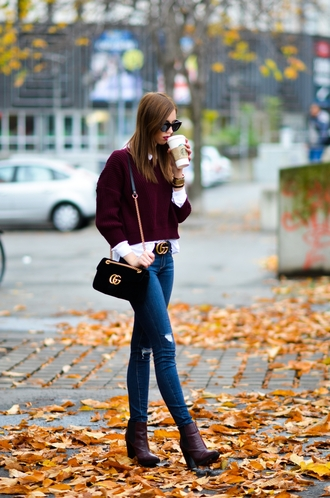 vogue haus blogger shirt sweater jeans shoes bag belt sunglasses burgundy sweater gucci bag gucci gucci belt ankle boots fall outfits thanksgiving outfit