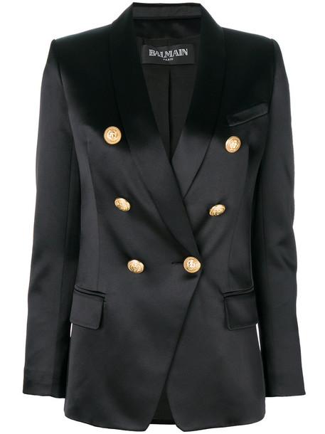 Balmain blazer women embellished cotton black silk satin jacket