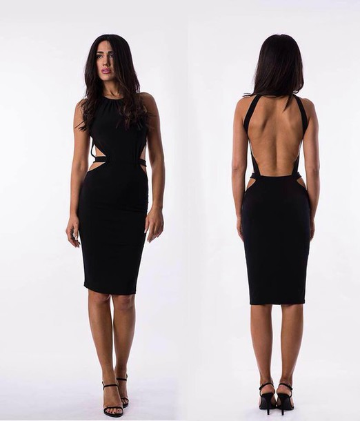 Dress: midi dress, black, black dress, backless, backless dress ...