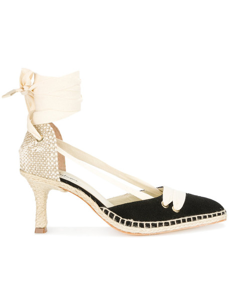 Manolo X Castaner women pumps leather black shoes