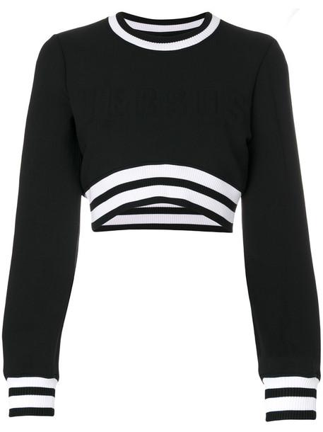Versus - cropped sweater - women - Cotton/Nylon/Polyester/Spandex/Elastane - S, Black, Cotton/Nylon/Polyester/Spandex/Elastane