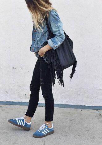 shoes denim jacket black fringed bag black ripped jeans blue adidas sneakers blogger