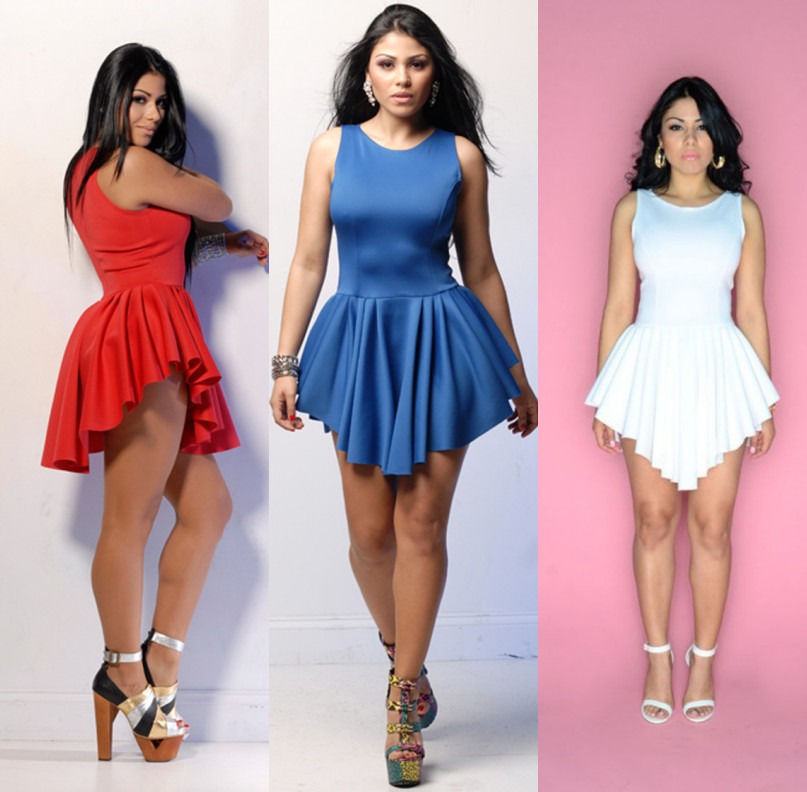 New Summer Sexy Lady Celeb Club Party Pleated Irregular Hem Mini Dress UK 6-20
