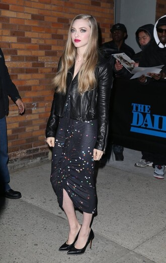 jacket leather jacket dress midi dress amanda seyfried