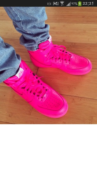 shoes pink nike nike air force high jeans white neon