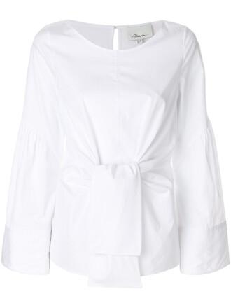 shirt blouse women tie front white cotton top