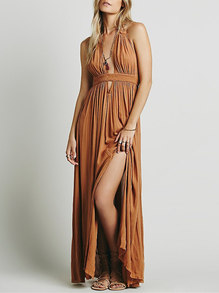 31fff588ae5b Brown Halter Deep V Neck Backless Maxi Dress -SheIn(Sheinside)
