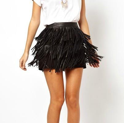 Pu leather fringed skirt