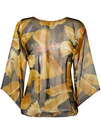 blouse women print black silk top