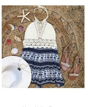romper,crochet top,blue and white,summer