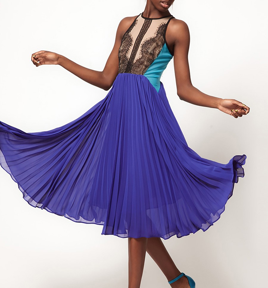 Accordion Pleated Dress With Lace Panels
