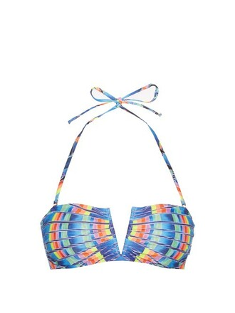 bikini bikini top bandeau bikini print blue swimwear