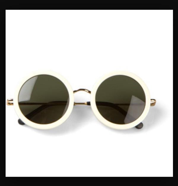 sunglasses, white, round, white round sunglasses, white frame ...