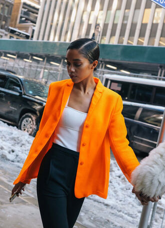 jacket nyfw 2017 fashion week 2017 fashion week blazer orange top white top pants black pants androgynous