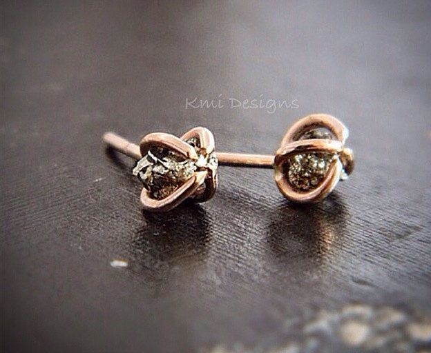 Raw Pyrite Rose Gold Stud, Mineral Pyrite Rose Gold Earrings, Available in SOLID GOLD